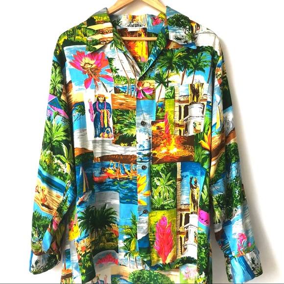 c992e876 VINTAGE MENS MADE HAWAII ALOHA LONG SLEEVE SHIRT. M_5bc0ebcea31c3359ed447012